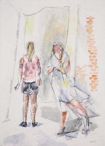 Women Outside a Gallery